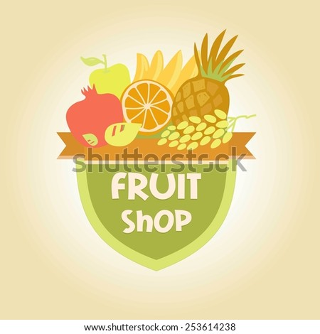 logo for a store of fruits, fruit juice labels. Guaranteed quality and fresh fruit. - stock photo