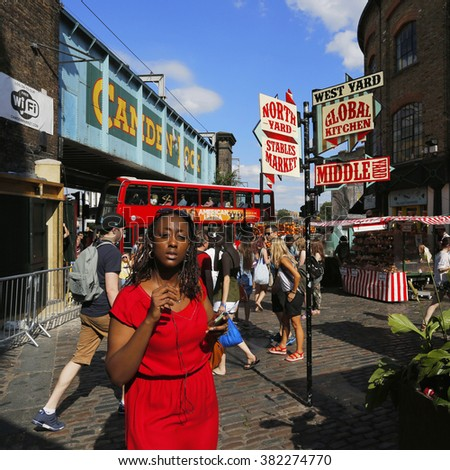 LONDON - AUGUST 22 : View of Camden Market, famous tourist attractions in Camden Town, also called Camden Lock, on Aug 22, 2015, London, UK. The Market attracting about 100,000 visitors each weekend.