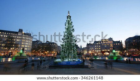 LONDON - DEC 12: The Christmas tree; normally a 50- to 60-year-old Norway spruce; on Trafalgar Square on Dec 12; 2012; London; UK. Since 1947 the pine tree has been a gift from Norway. - stock photo