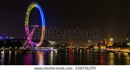 London eye  at night - stock photo