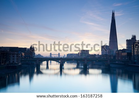 London skyline from the milleneum bridge - stock photo
