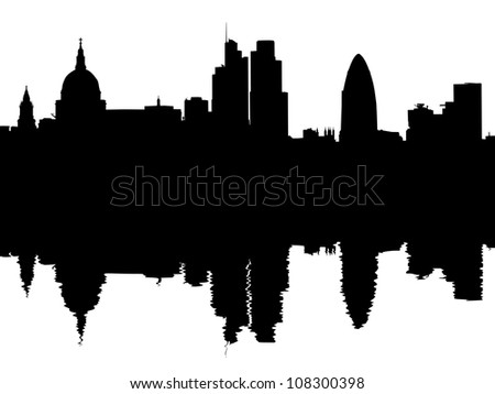 London skyline reflected with ripples illustration - stock photo
