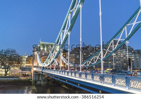 London Tower Bridge illuminated in the evening - LONDON/ENGLAND  FEBRUARY 23, 2016