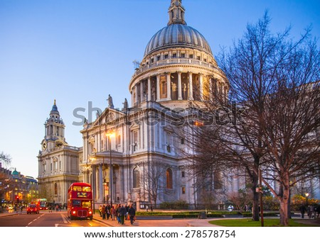 LONDON, UK - DECEMBER 19, 2014: City of London. St. Paul cathedral in the dusk - stock photo