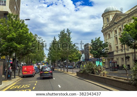 LONDON, UK - JUNE 5, 2015: Great Eastern Street in Kensington Olympia district on the normal working day at evening time. London, England, United Kingdom.