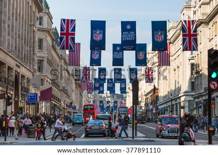LONDON, UK - OCTOBER 4, 2016:  Regent street view with transport and walking people