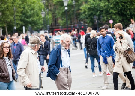 29. 07. 2015, LONDON, UK - Urban landscape and people, view from Trafalgar square