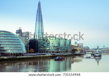 15/10/2017 London, UK, View of Southwark, City Hall and Shard building in London from Tower Bridge area