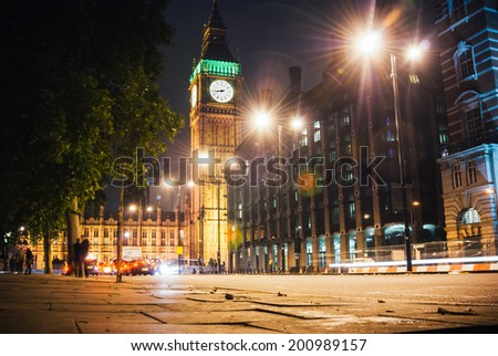 London - United Kingdom 3 october 2013: Big Ben, one of the most prominent symbols of both London and England at night.