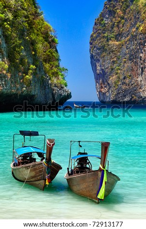 """Long tail Boat ""  is the local boat at  Phi Phi island , Thailand - stock photo"