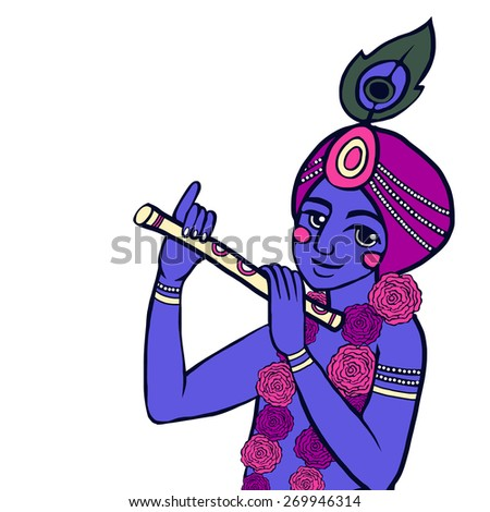Lord Krishna with floral wreath plays the flute