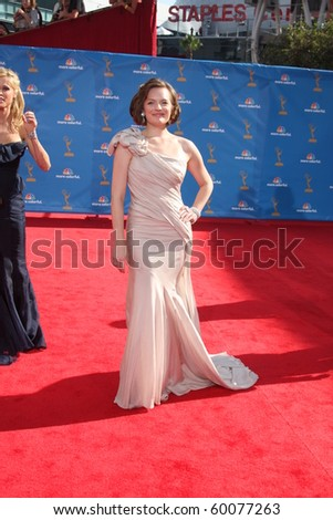 LOS ANGELES - AUG 29:  Elisabeth Moss arrives at the 2010 Emmy Awards at Nokia Theater at LA Live on August 29, 2010 in Los Angeles, CA - stock photo
