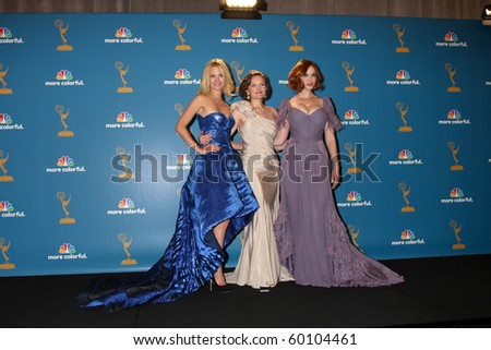 LOS ANGELES - AUG 29:  January Jones, Elisabeth Moss, Christina Hendricks in the Press Room at the 2010 Emmy Awards at Nokia Theater at LA Live on August 29, 2010 in Los Angeles, CA - stock photo