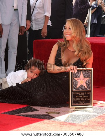 , LOS ANGELES - AUG 5:  Mariah Carey, Moroccan Cannon at the Mariah Carey Hollywood Walk of Fame Ceremony at the W Hollywood on August 5, 2015 in Los Angeles, CA - stock photo