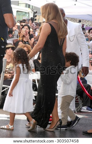 , LOS ANGELES - AUG 5:  Monroe Cannon, Mariah Carey, Moroccan Cannon at the Mariah Carey Hollywood Walk of Fame Ceremony at the W Hollywood on August 5, 2015 in Los Angeles, CA - stock photo