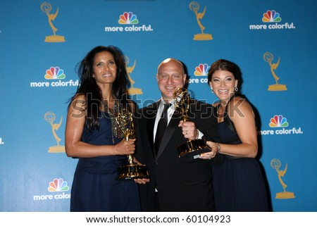 LOS ANGELES - AUG 29:  Padma Lakshmi, Tom Colicchio, & Gail Simmons in the Press Room at the 2010 Emmy Awards at Nokia Theater at LA Live on August 29, 2010 in Los Angeles, CA