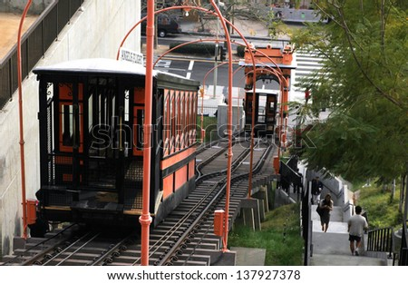 LOS ANGELES, CA - JANUARY 12 :  Angel's Flight funicular is the world's shortest railway, bringing riders up Bunker Hill since 1901 on January 12, 2012 in Los Angeles, CA. - stock photo
