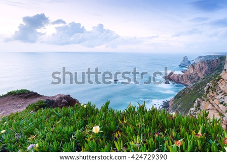 Lovely evening at Cape Roca is the westernmost point of mainland Europe and mainland Portugal - stock photo