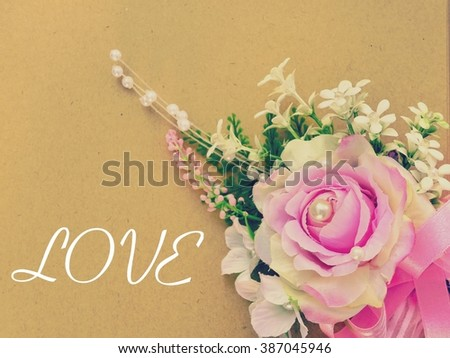 Lovely flowers bouquet on texture recycle stock photo 387045946 lovely flowers bouquet on texture recycle paper sheet with love lyrics mightylinksfo