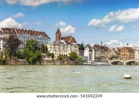 Lovely Panoramic View Embankment River Rhine Stock Photo - Swiss river to the rhine