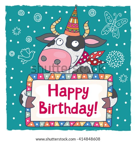 Cute Happy Birthday Greeting Card Template Stock Vector 384482260 ...
