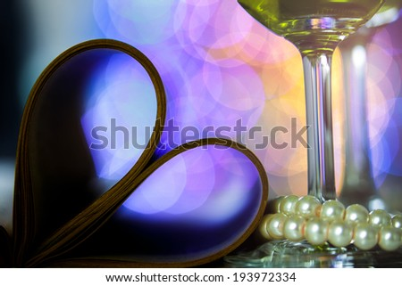 loving dinner propose marry have vine with beautiful bokeh,	postcard make to heart ,vine in the glass,pearl beautiful full color