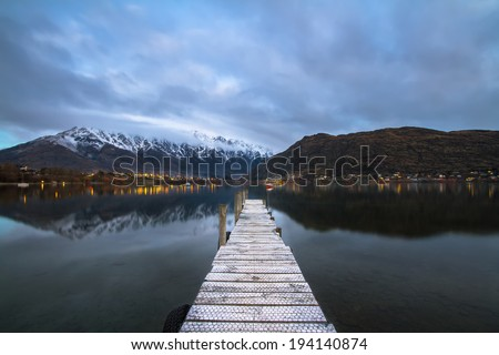 Low Wood jetty near Queenstown - stock photo