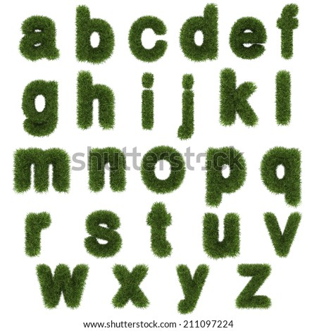 lowercase letters of green grass alphabet isolated on white background  - stock photo