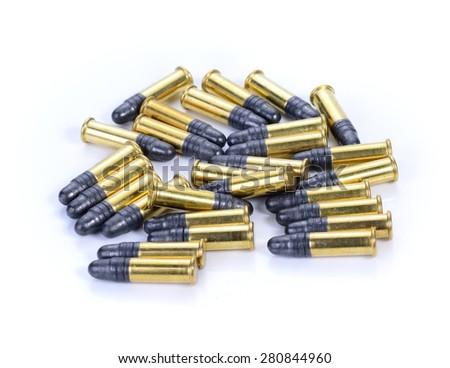 .22LR cartridge gun on white background - stock photo