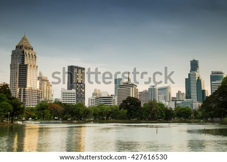 Lumpini Park Bangkok Thailand Night City and Landscape