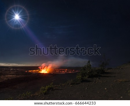 """Lunar Spotlight""   Full moon illuminates the Kilaeau caldera on Hawaii's Big Island.  Erupting continuously since 1983, Kilaeau is a magnificent sight after sunset."