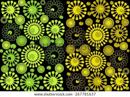 Luxurious   beautiful  unique  bright  modern  neon glow   abstract design  with floral and geometric  motifs superimposed   on a    black    background ideal for  superbly    elegant  wallpapers.