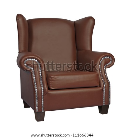 luxury leather armchair isolated on white background - stock photo