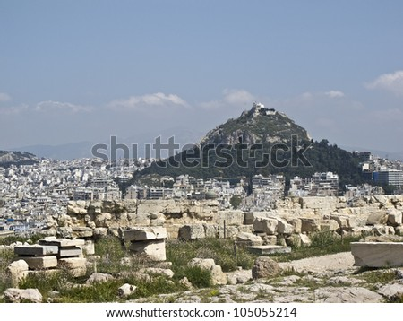 Lycabettus hill in the heart of Athens - stock photo