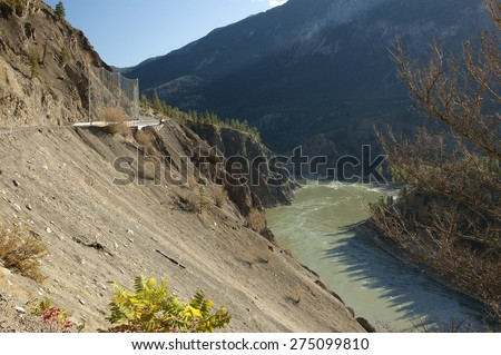Lytton-Lillooet Highway above Fraser River (near Lytton) British Columbia, Canada - stock photo