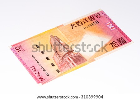 10 Macanese pataca bank note. Macanese pataca is the national currency of Macau