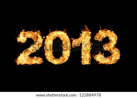 2013 made of fire - stock photo