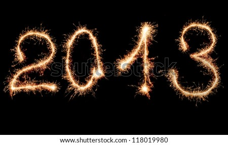2013 made of sparks. A photo path bengal fires - stock photo