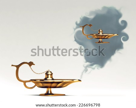 (magic) lamp and wishes - stock photo