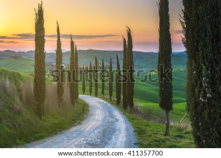 Magical journey fields of Tuscany - stock photo