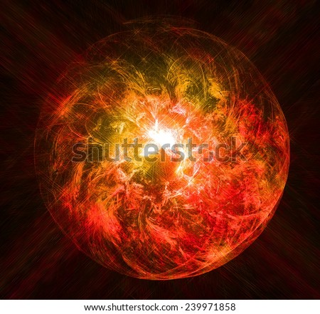 Magical red glowing ball of light with the rays of the stars. Fractal art graphics