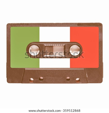 Magnetic tape cassette for audio music recording - Italian music vintage - stock photo