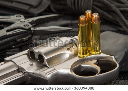 357 Magnum Revolver and Hollow Point Ammunition - stock photo