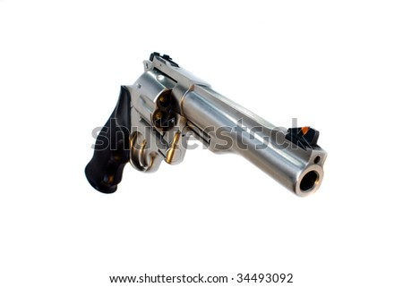 44 magnum revolver isolated, wide angle view - stock photo