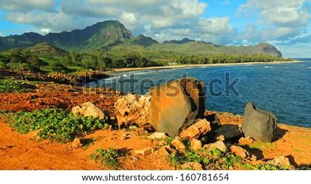 mahaulepu beach, near  Poipu, Kauai , hawaii  - stock photo