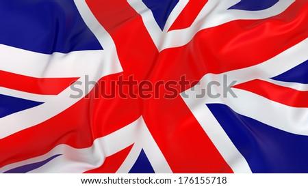 Majestic Glossy UK Flag - stock photo