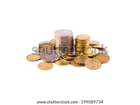 Malaysian sen coins isolated on white - stock photo
