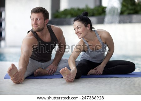 man and woman at the gym  - stock photo