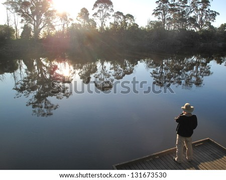'Man from Snowy River' in the evening sun on the riverbank near Orbost Victoria