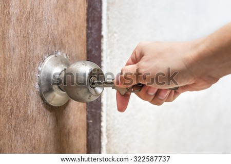 man hand hold key Opening old door